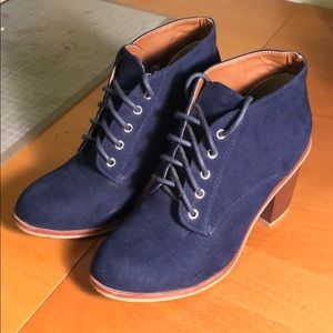 Shoes - Lace-up Navy Blue Booties